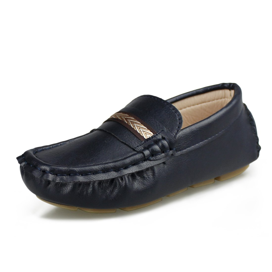 Hawkwell Kids Loafer Moccasin Oxford Driver Shoes(Toddler/Little Kid/Big Kid),Navy PU,2 M US