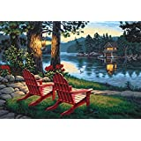 [Framless]Diy Oil Painting Paint By Number Kits Home Decor Wall Pic Value Gift-Linen material-Lakeside 12X16 Inch