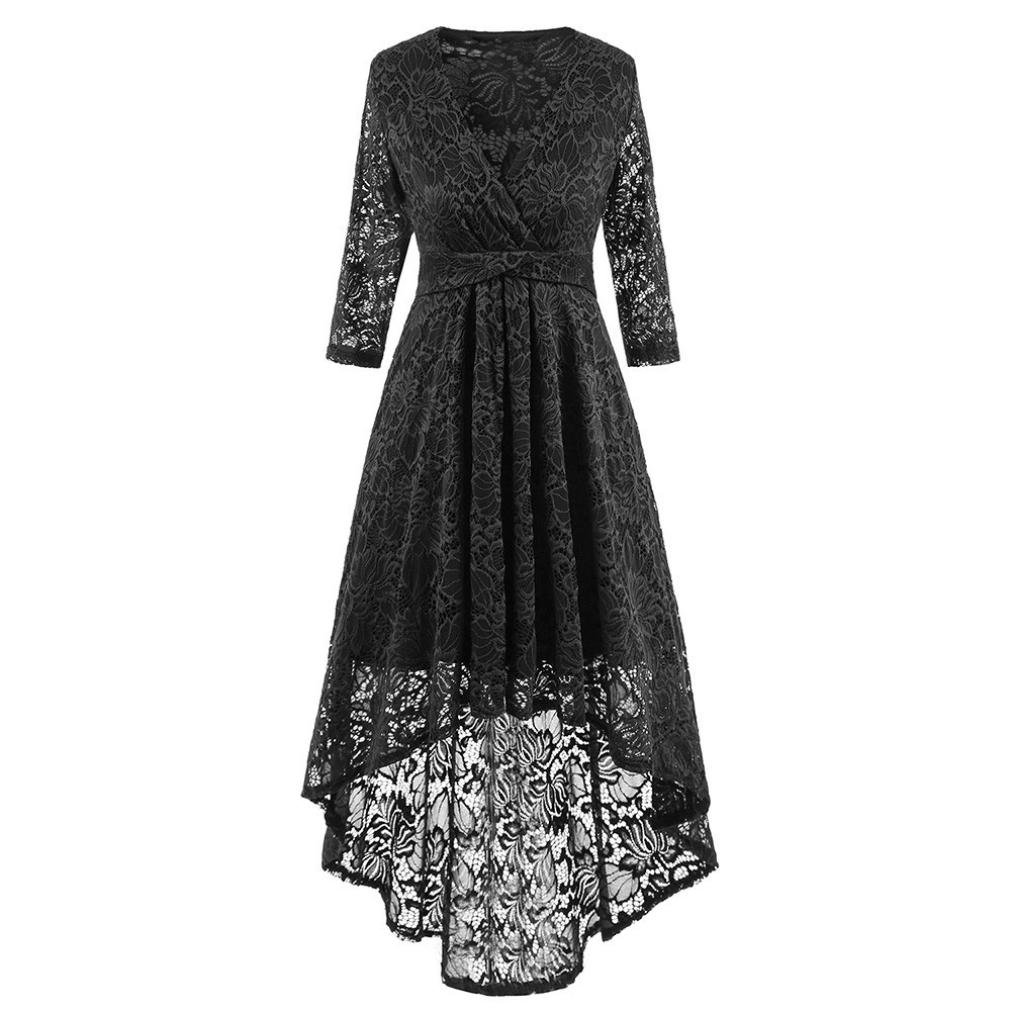 9b7c581316be About the product ☆Material:Polyester---Women\'s Vintage Floral Lace Long  Sleeve Boat Neck Cocktail Formal Swing Dress Women\'s Vintage Full Lace  Contrast ...