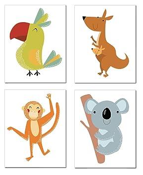 Zauberkern® 4er Poster Set Kinder Bilder - A4 Bild | Kinderzimmer Deko &  Babyzimmer Deko | Wanddekoration & Wandbild | Kids Poster mit Tierbilder |  ...