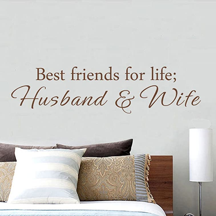 MairGwall Best Friends For Life Husband and Wife - Wall Quote Saying - Removable Vinyl Lettering Decal Sticker (Dark Brown, X-Large)