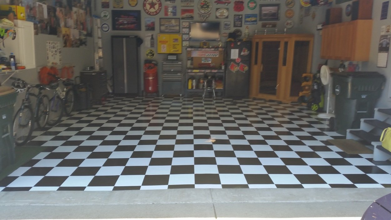 Garage Floor Tile Black White Peel Stick 120 Square Feet 12