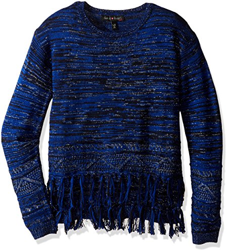 Derek Heart Girls' Big Long Sleeve Crew Neck Marled Tunic with Lurex,Novelty Stitch & Fringe Trim, Black Beauty/Surf The Web, s7/8