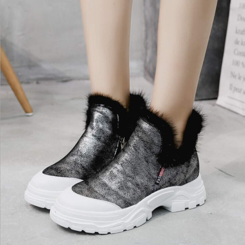 HhGold Stiefel Damen Schuhe Stiefeletten Frauen Warm Martin Stiefel Runde Runde Runde Zehe Flach Schuhen Bequeme Baumwolle Schuhe Zipper Martin Stiefel (Farbe   Silber, Größe   40 EU) 36bde0