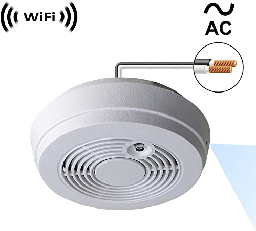 WF-402HAC Sony 1080p IMX323 Chip Super Low Light Spy Camera with WiFi Digital IP Signal, Recording Remote Internet Access, Camera Hidden in a Fake Smoke Detector 120VAC, Side-Down View