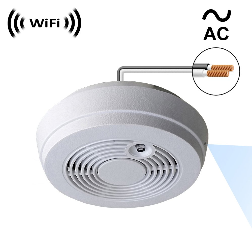 WF-402HAC Sony 1080p IMX323 Chip Super Low Light Spy Camera with WiFi Digital IP Signal, Recording Sorry, No P2P , Camera Hidden in a Fake Smoke Detector 120VAC, Side-Down View