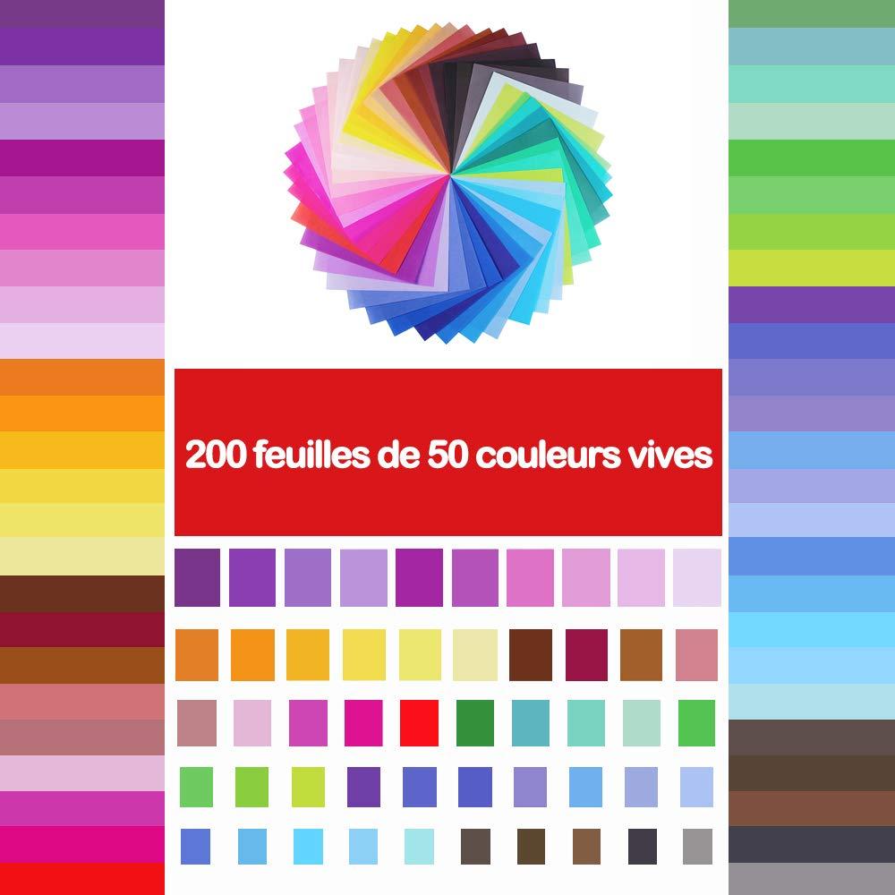 Papier Pli/é De Couleur Carr/ée,50 couleurs vives Opret Lot de 200 feuilles de papier origami,Pour Les Projets De Bricolage Arts et M/étiers Origami de no/ël