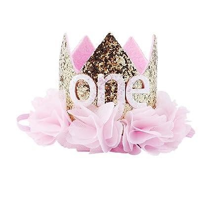 Baby Crown Glitter Birthday Hat Child Headband Toddler Photography Props Crown Perform Headwear