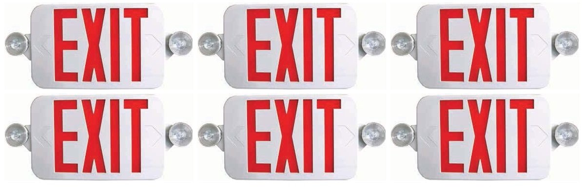4 Pack Ciata Lighting All LED Decorative Red Exit Sign /& Emergency Light Combo with Battery Backup