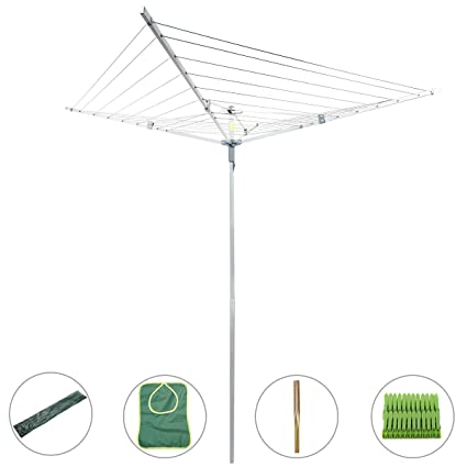 Drynatural Collapsible 4 Arm Rotary Outdoor Umbrella Drying Rack Clothes  Dryer Clothesline With 131ft Drying