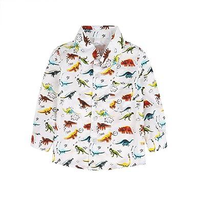 BOBORA Camisa Polo con Estampado de Dinosaurio de Manga Corta de ...