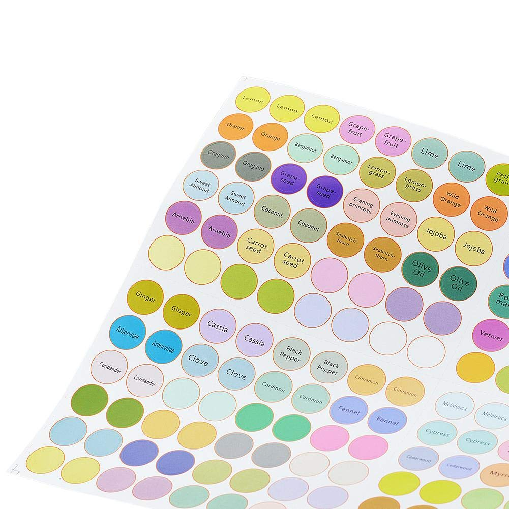Multiple Labels and Blank Stickers waterfaill 5 Sheets Essential Oil Bottle Labels Aromatherapy Labels Color Coded Bottle Labels Glass Bottle Round Stickers
