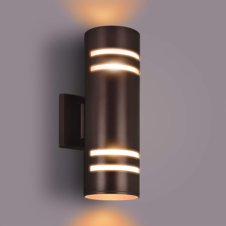 Outdoor Wall Light,Bling Exterior Lighting - ETL Listed,Aluminum Waterproof Wall Mount Cylinder Design - Up Down Light Fixture for Porch, Backyard and Patio [Brown] (Outdoor Wall Light Brown)