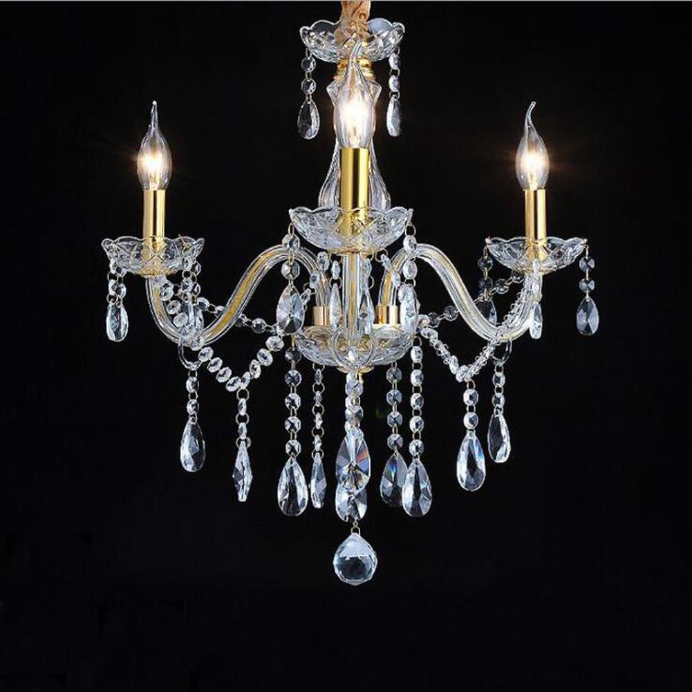 Wei-d 3 Heads Gold Luxury European Crystal Chandelier Hotel Crystal Lamp 110V Crystal Chandelier , as picture