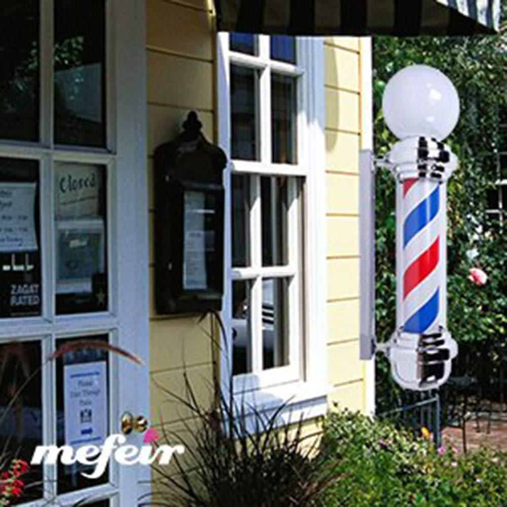 Palo del Barbiere LED Barber Pole,Superiore Lampada Impermeabile Luminoso Girevole Rosso Bianca Blu LED Strisce Filatura Luminosa per Parrucchiere Salone Leggero Cartello Parete Lampada,A,68CM*26CM