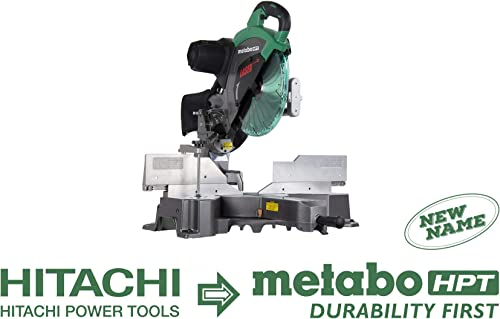 Metabo HPT C12RSH2 12-Inch Sliding Compound Miter Saw, Double Bevel, Laser Marker, Compact Slide System, 15-Amp Motor, Large Sliding Fences, 5 Year Warranty