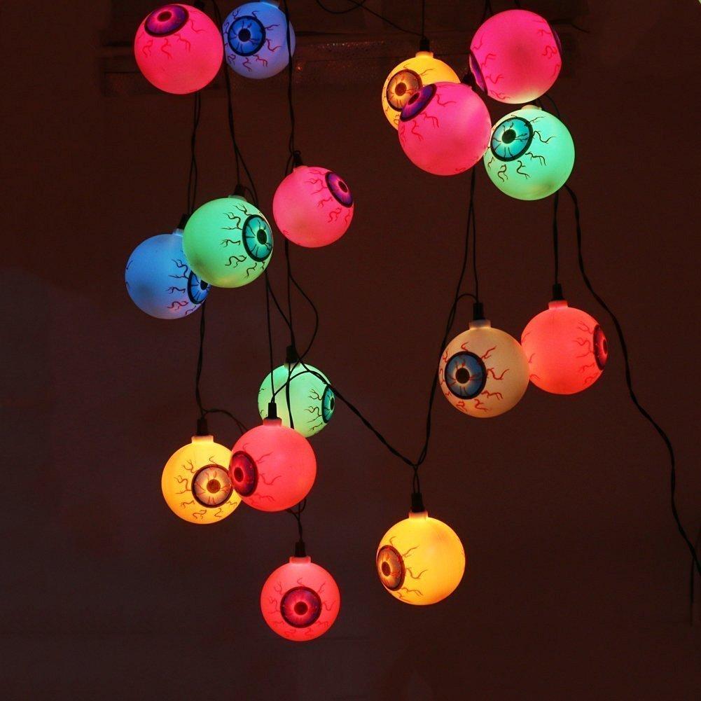 Solar Lichterketten Außen Halloween Beleuchtung, KINGCOO 10LED Geist Ping Pong ugapfel Glühbirne Solar String Licht für Garten Thanksgiving Party Weihnachtsgarten Fensterdekorationen Beleuchtung Kugel (Weiß)