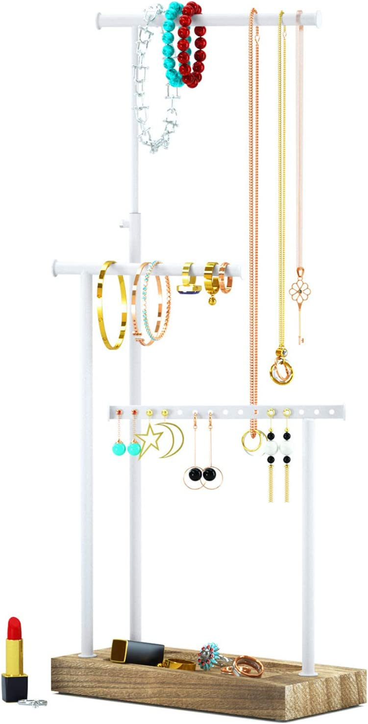 L@@K Set Of 5 Beautiful Rustic Solid Wood Jewelry Display/'s -