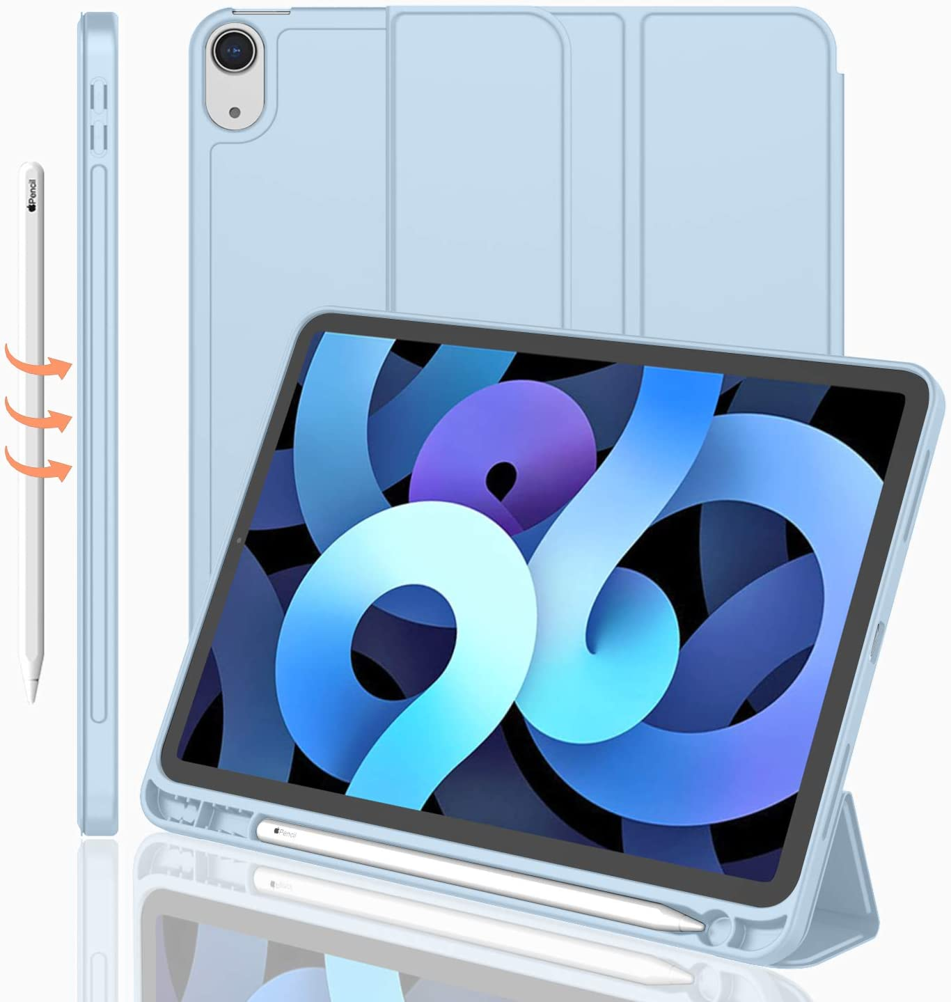 iMieet iPad Air 4th Generation Case 2020, iPad 10.9 Inch Case 2020 with Pencil Holder [Support Touch ID, NOT Support Auto Wake/Sleep], Trifold Stand Smart Case with Soft TPU Back (Sky Blue)