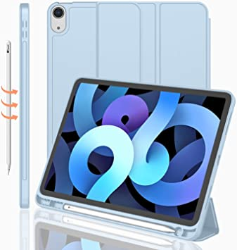 iMieet iPad Air 4th Generation Case 2020, iPad 10.9 Inch Case 2020 with Pencil Holder [Support Touch ID and iPad 2nd Pencil Charging/Pair], Trifold Stand Smart Case with Soft TPU Back (Sky Blue)