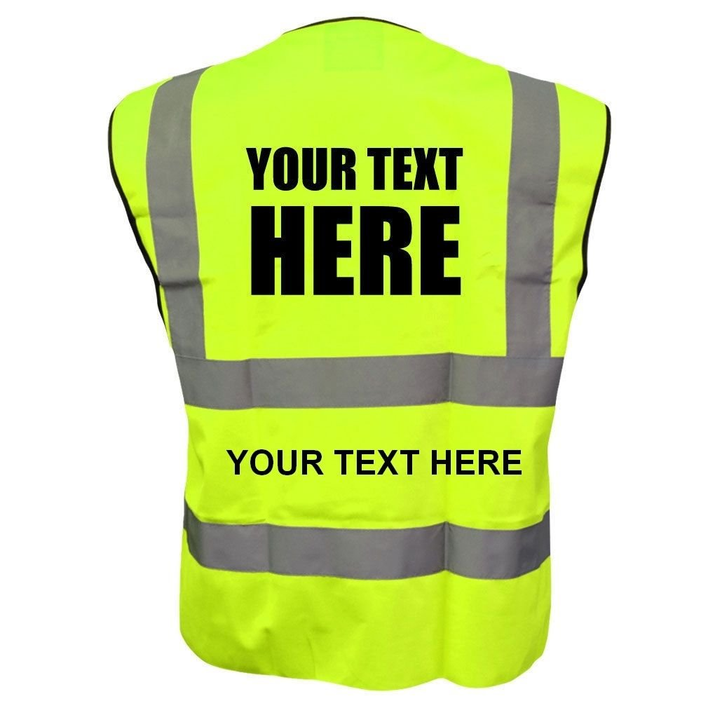 Customised/Personalised Hi vis-viz vest/waistcoat EN471class2 Printed safety high visibility vest with your text or logo (XL, Yellow) unseen