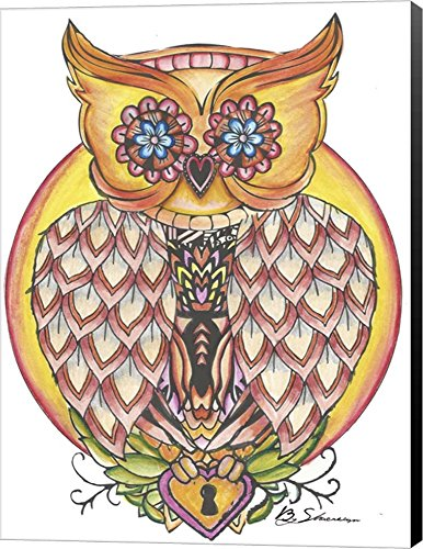 Owl by Shacream Artist Canvas Art Wall Picture, Wrapped