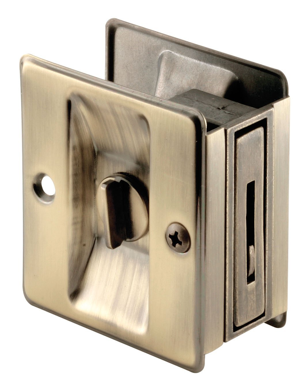 Prime-Line Products N 6774 Pocket Door Privacy Lock with Pull, Antique Brass