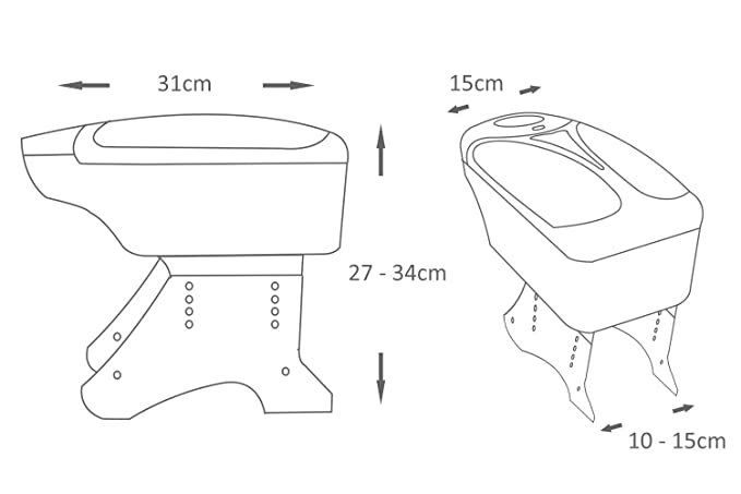 autob/ús Reposabrazos universal plateado para coche furgoneta Boloromo