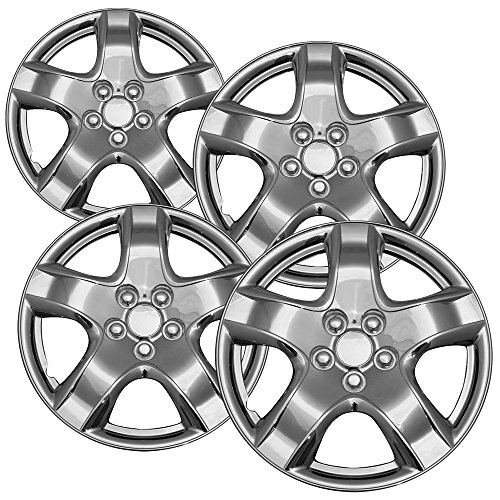 5 inch Standard Steel Wheels (Pack of 4) Wheel Covers - Snap On, Chrome ()