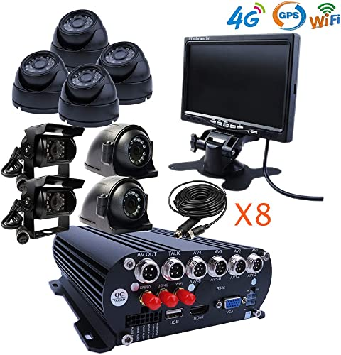 JOINLGO 8 Channel Mobile DVR Backup Camera System Remote Monitor on PC Phone GPS WiFi 4G 1080N AHD Vehicle Car DVR MDVR Video Recorder with 8 2.0MP Dome Side Rear View Car Cameras for Truck RV Bus