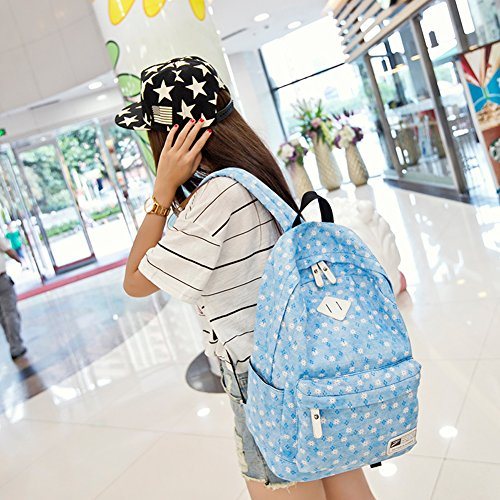 Estilo Casual Guay Descubierto Mochila Portátil Bolsa para Escuela Viajes Deportes al Aire Libre Azul