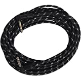 """Sendt SNT-IC2R-25 1/4"""" (6.3mm) Dual Right Angle Male to Male Mono Nylon Braided Guitar / Bass / Instrument Cable, 25'"""