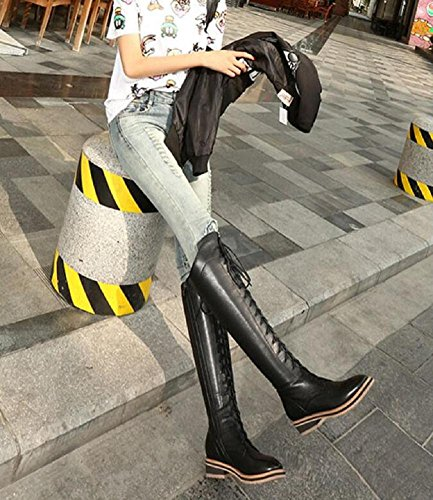 Correa larga mujer Botas terciopelo moda de hasta de Botas 37 la además cruzadas retro muslo Wdjjjnnnv para rodilla moteras d5xwpd