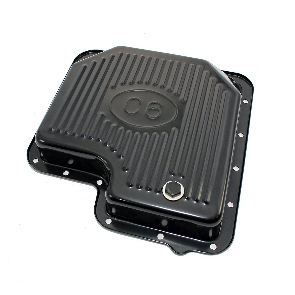 Assault Racing Products A9125PBK for Ford C6 Black Steel Transmission Pan 2 3/8'' depth