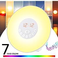 Lampe de Réveil,Lampe de Chevet Lumiere du jour,Simulation d'Aube/de Crépuscule(10 Intensités)6 Alarmes et Fonction Radio FM 7 Changement de Couleur Veilleuse LED Tactile(Adaptateur+Cble USB assorti)