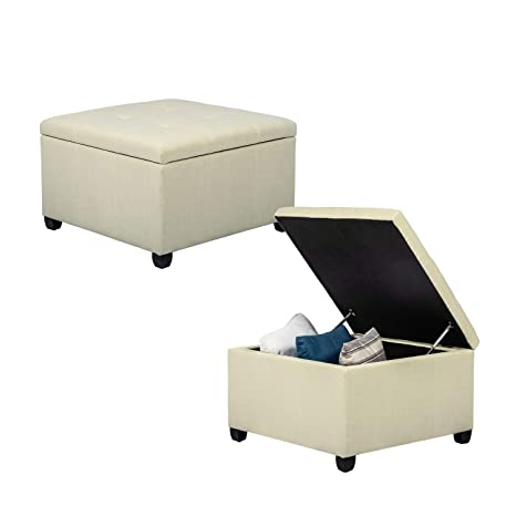 Miraculous Homebeez Tufted Storage Ottoman Bench Square Fabric Footrest Stool Cube Upholstered Seat Beige Gmtry Best Dining Table And Chair Ideas Images Gmtryco