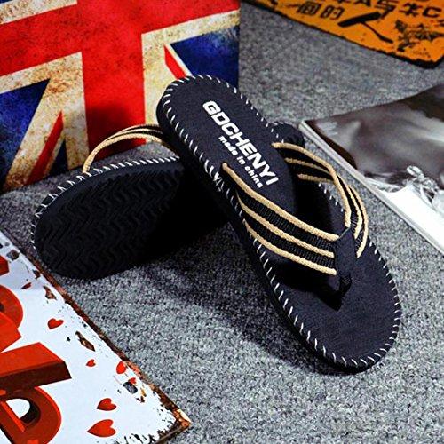 Euone Men Summer Stripe Flip Flops Shoes Sandals Male Slipper Flip-flops Black khnGpYw3k2