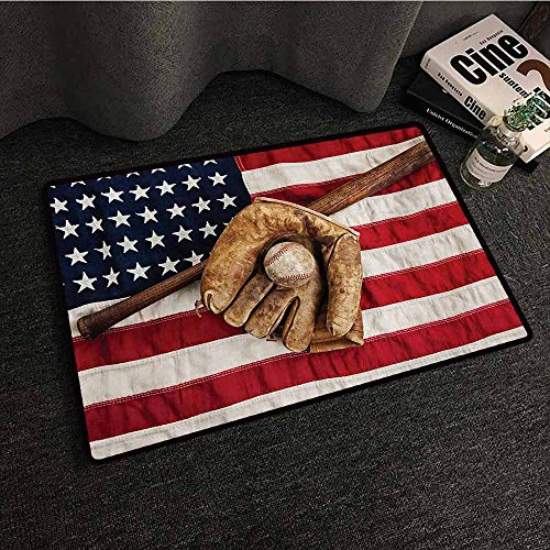 Zzmdear Baseball Fashion Door mat Vintage Baseball League Equipment USA Grunge Glove Bat Fielding Sports Theme Personality W35 xL47 Brown Red Blue