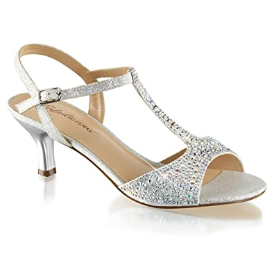 09b908d443f31 Summitfashions Womens Kitten Heel Wedding Shoes T Strap Sandals Silver  Rhinestone 2 1 2 Inch