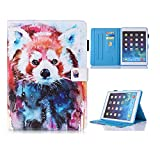 New iPad Case Smart Leather Case - UNOTECH Card Slot Protective Case with Pen Holder Wake/Sleep Function for New iPad 9.7 Inch 2017,iPad Air 1 2, Leopard Cat