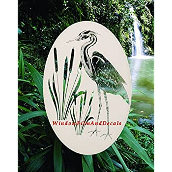 Amazon Com Oval Egret Amp Cattails Right Etched Window