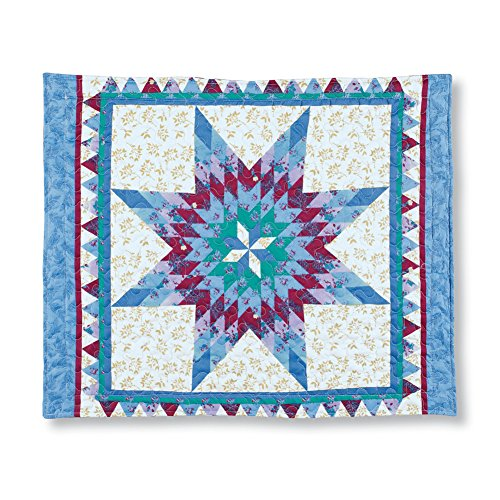 (Collections Etc Mystic Star Geometric Pattern Pillow Sham, Intricate Design, Quilted Stitching, Scalloped Edges, Shades of Blue)