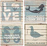 Primitives By Kathy 30899 Distressed Coasters, 4'' x 4'', Beach