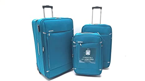 48b85fcd1 Set Tre Trolley Clacson Semirigidi Resistente Economico Espandibile con  Trolley Bagaglio a Mano idoneo Ryanair cm