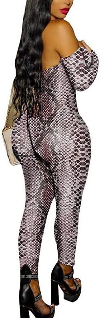 Fubotevic Womens Long Sleeve Bodycon Leopard Print Off The Shoulder Rompers Jumpsuit