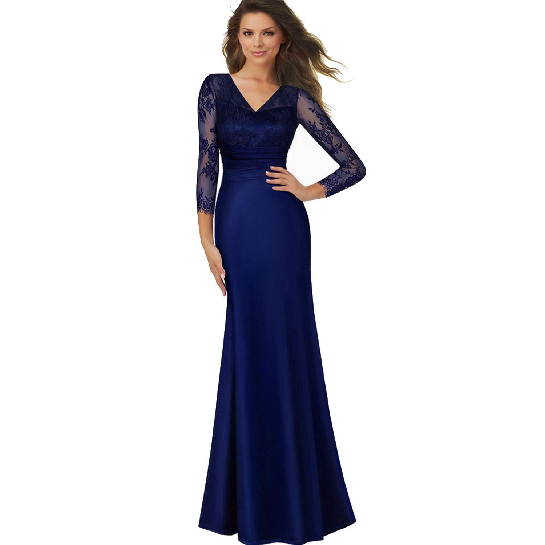 TheUniqueHouse Vintage Dress Sexy Deep Back Lace VNeck Grand Sleeve Celebrity Bodycon Maxi Gauze Mermaid Dress,bluee,M,U