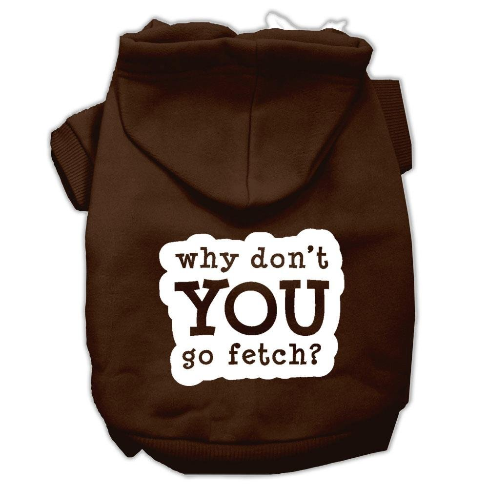 Brown 3X-Large Brown 3X-Large Mirage Pet Products You Go Fetch Screen Print Pet Hoodies, 3X-Large, Brown