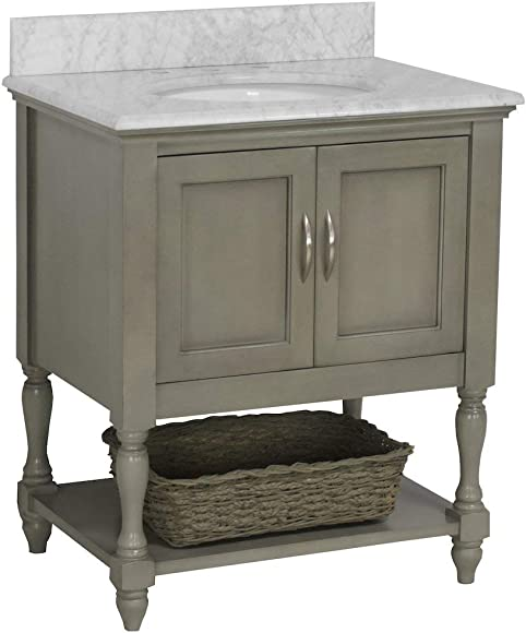 Beverly 30-inch Bathroom Vanity Carrara/Weathered Gray : Includes Weathered Gray Cabinet