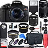 Canon T6i EOS Rebel DSLR Camera w/EF-S 18-55mm & 75-300mm III Lens Kit + 64GB SDXC Memory + SLR Photo Bag + Wide Angle Lens + 2x Telephoto Lens + Flash + Remote + Tripod & DigitalAndMore Bundle