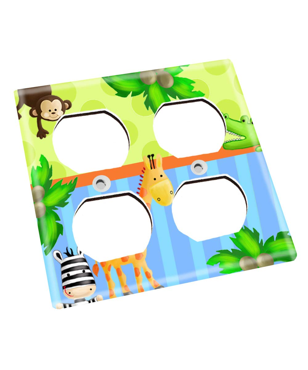 Blue and Green Jungle Animals Nursery Bedroom Light Switch Cover LS0118 (Double Outlet) by Toad and Lily